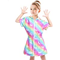 Sylfairy Unicorn Cover Up for Girls Terry Swim Cover Ups Hooded Terry Kids Cover Up Bathing Suit Beach Dress 4-9Years