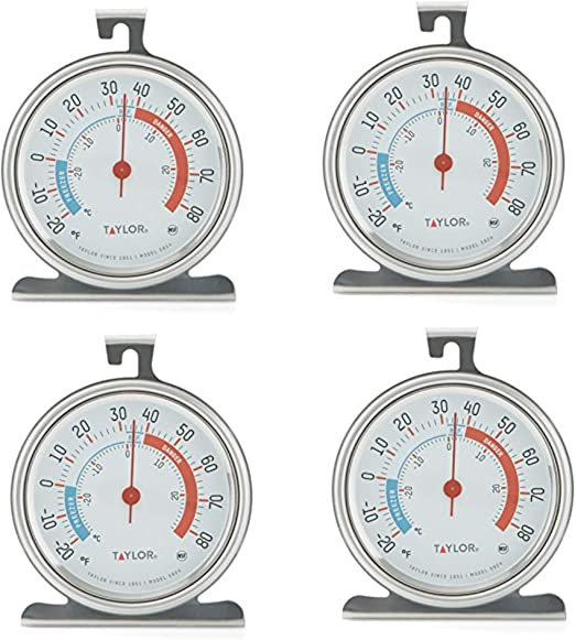 Taylor Classic Series Large Dial Fridge/Freezer Thermometer (4 Pack): Amazon.es: Hogar