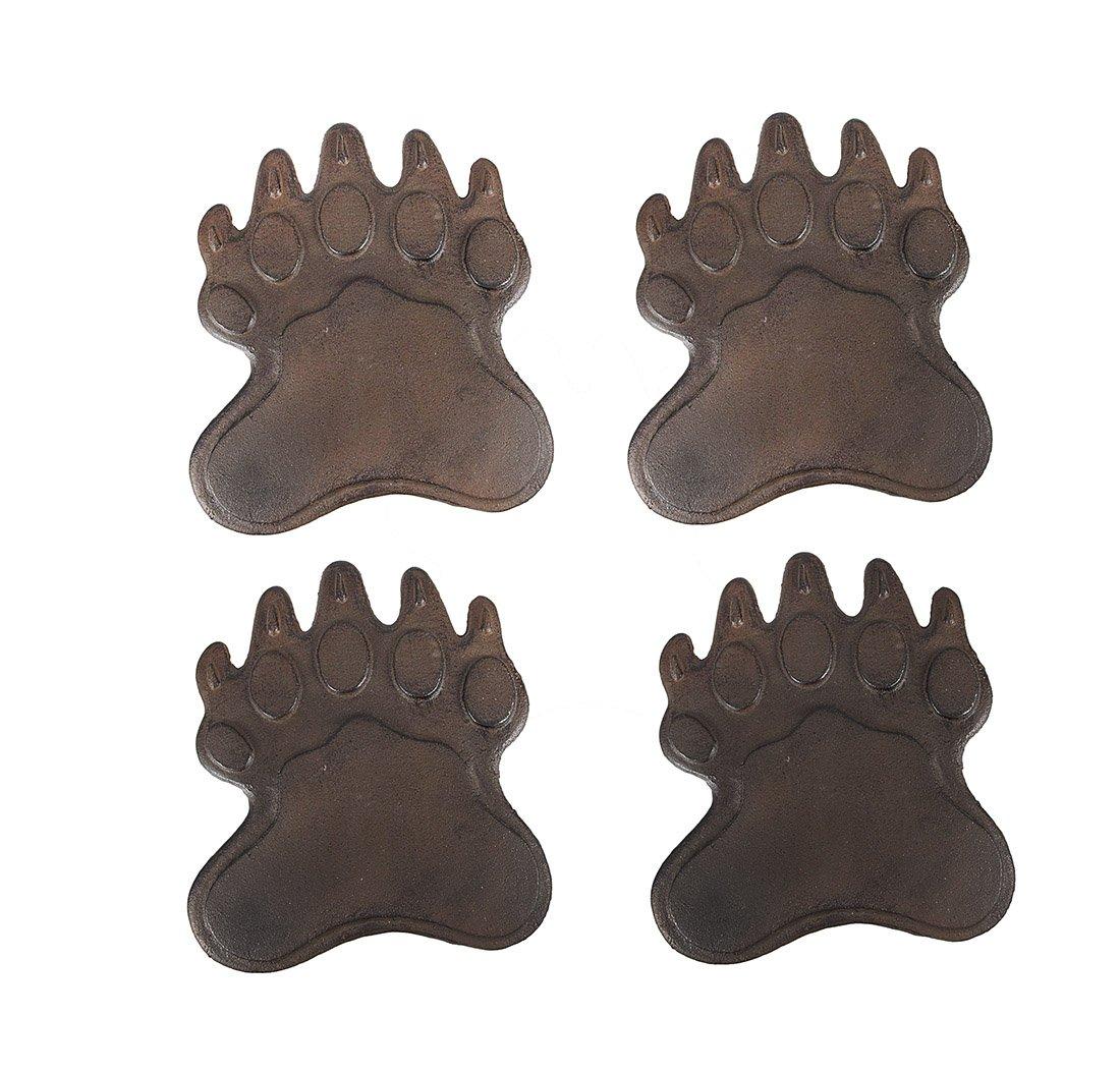 Zeckos Set of 4 Cast Iron Bear Footprint Garden Stepping Stones