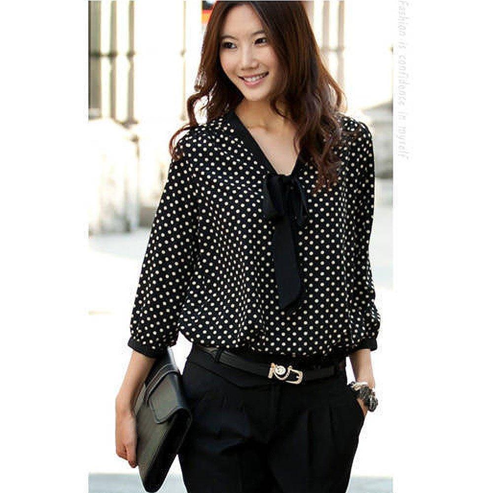 5300e8b737d F_topbu Women Blouses Tops, Womens Long Sleeve V Neck Bow Dots Print Casual  Tunic T-Shirt Loose Business Shirts(Chiffon) at Amazon Women's Clothing  store: