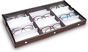 """Ikee Design Eyewears Organizer Box - 12 Compartments Eyewear Case for Small or Medium Eyeglasses with Lid, Wood Grain Pattern, Brown, 19""""W x 10""""D x 1 1/2""""H, Regular Clear Full Covered"""