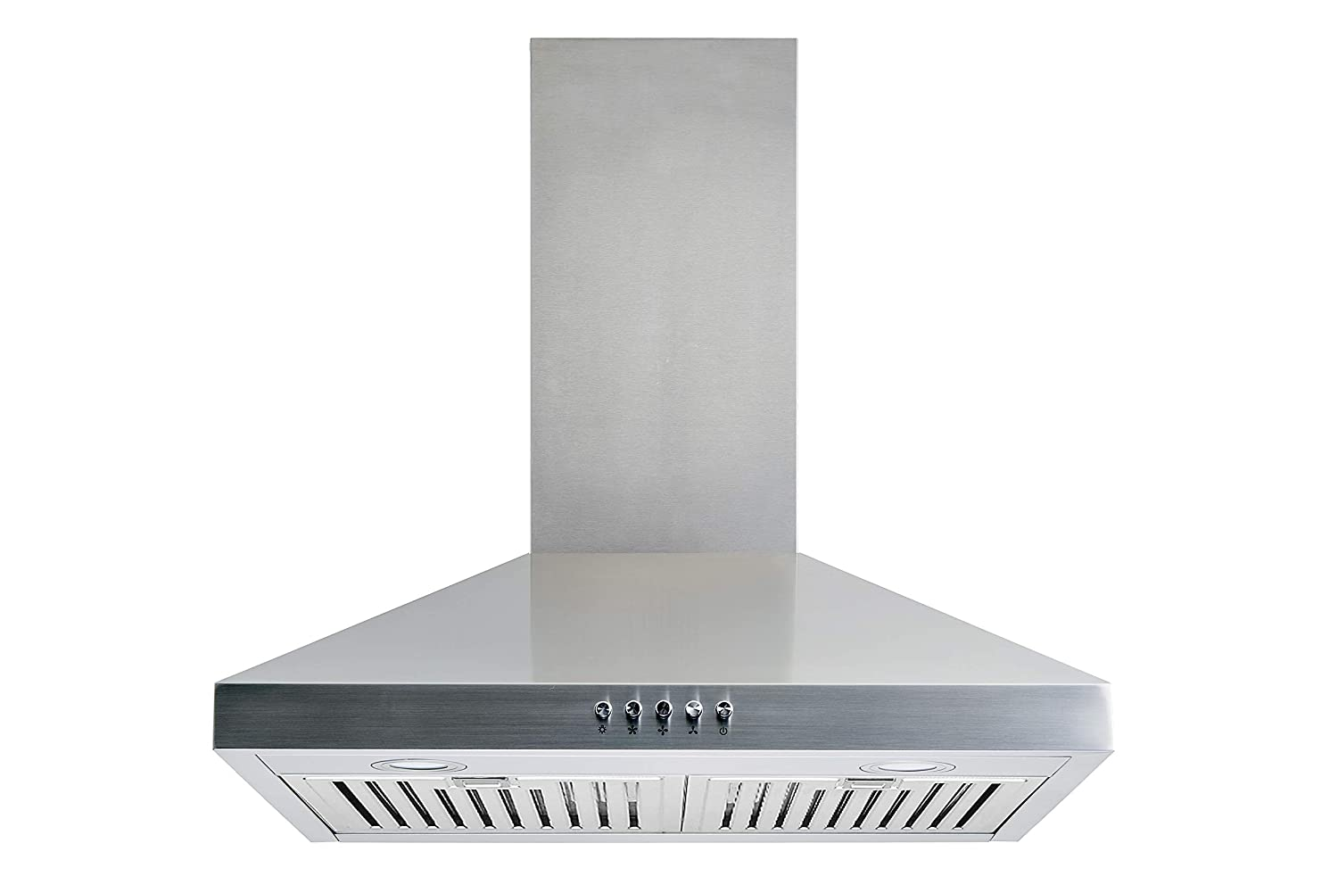 "Winflo 30"" Convertible Stainless Steel Wall Mount Range Hood with Stainless Steel Baffle filters, LED lights and 3 Speed Push Button Control"