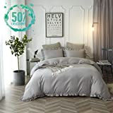 Queen Duvet Cover Set Lightweight Soft Solid Color 3PC Bedding Set with Exquisite Flouncing by Hyprest Light grey