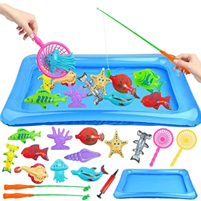 Coxeer Bath Toys, 18PCS Kids Bath Toy Set Creative Educational Magnetic Fishing Toy Bathtub Toy: Home & Kitchen