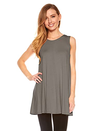 Womens Sleeveless A-Line Tank Top Tunic Solid Basic Long Flowy Top By Red Hanger