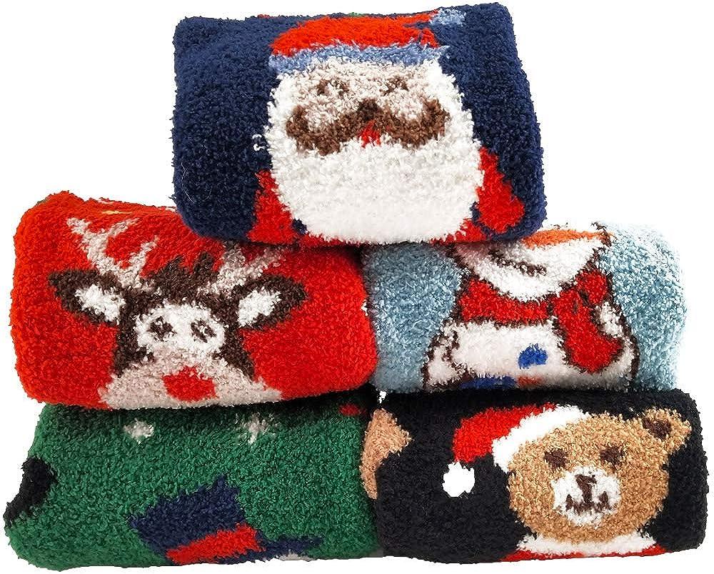 Christmas Fuzzy socks,Cozy Socks Women,Fluffy Cute Slipper Holiday Socks,Santa XMAS Socks Fuzzy Socks for Women
