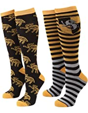 Harry Potter Striped Hufflepuff Badger Women's 2-pack Knee High Socks