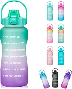 Half Gallon Motivational Water Bottle with Straw & Time Marker - 64 oz BPA Free Reusable Tritan Frosted Large Sport Water Bottle Leakproof Big Plastic Men Women Kids 2L Water Jug for Office Workout