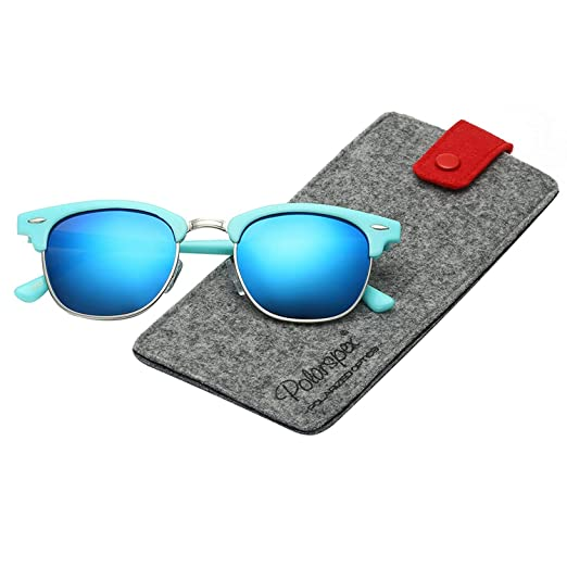 ad759a7211 Image Unavailable. Image not available for. Color  Polarspex Unisex Retro  Classic Stylish Malcom Half Frame Polarized Sunglasses