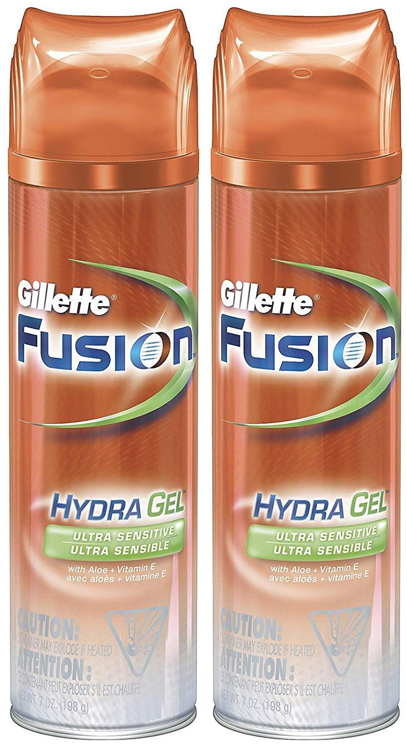 Gillette Fusion Shave Gel Ultra Sensitive 7 Ounce (207ml) (2 Pack)