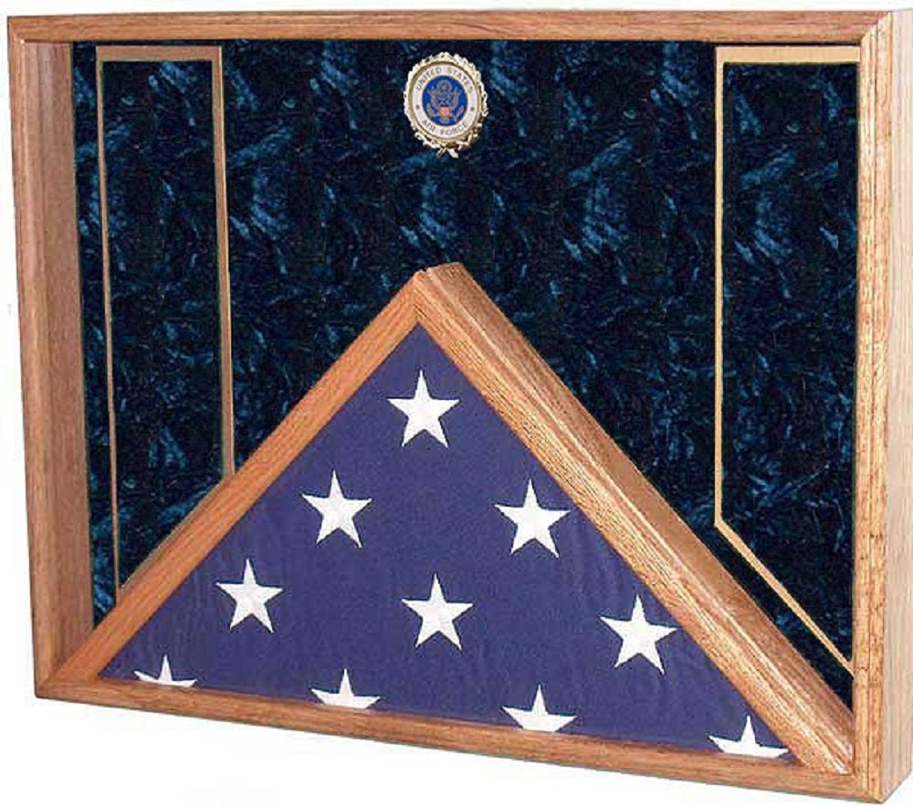 Military Flag and Medal Display Case - Shadow Box - for 5x9.5 Burial / Coffin flag (USAF Emblem / Blue velvet) by All American Gifts