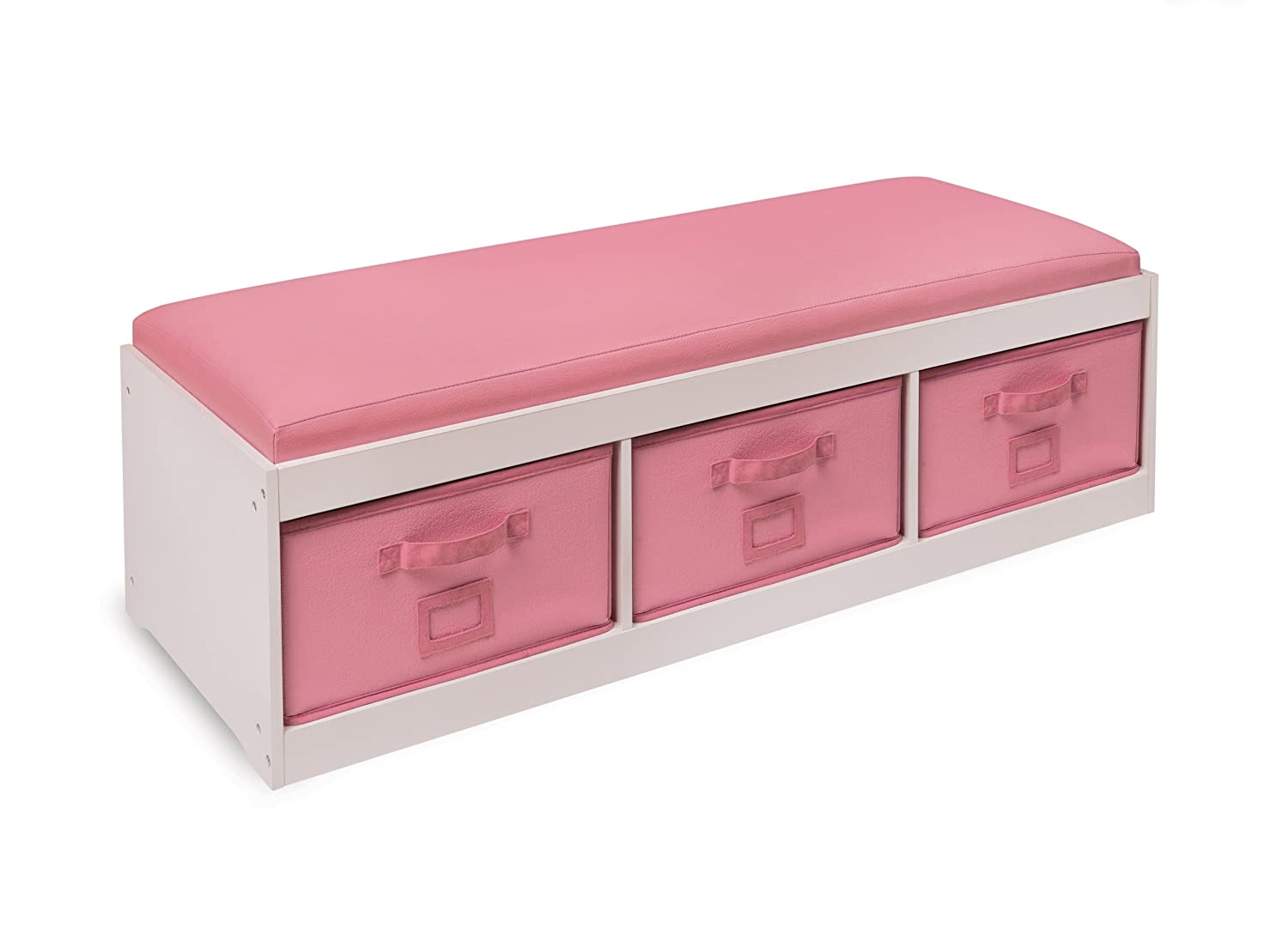 Badger Basket Kid's Storage Bench with Cushion and Three Bins, Pink 90900