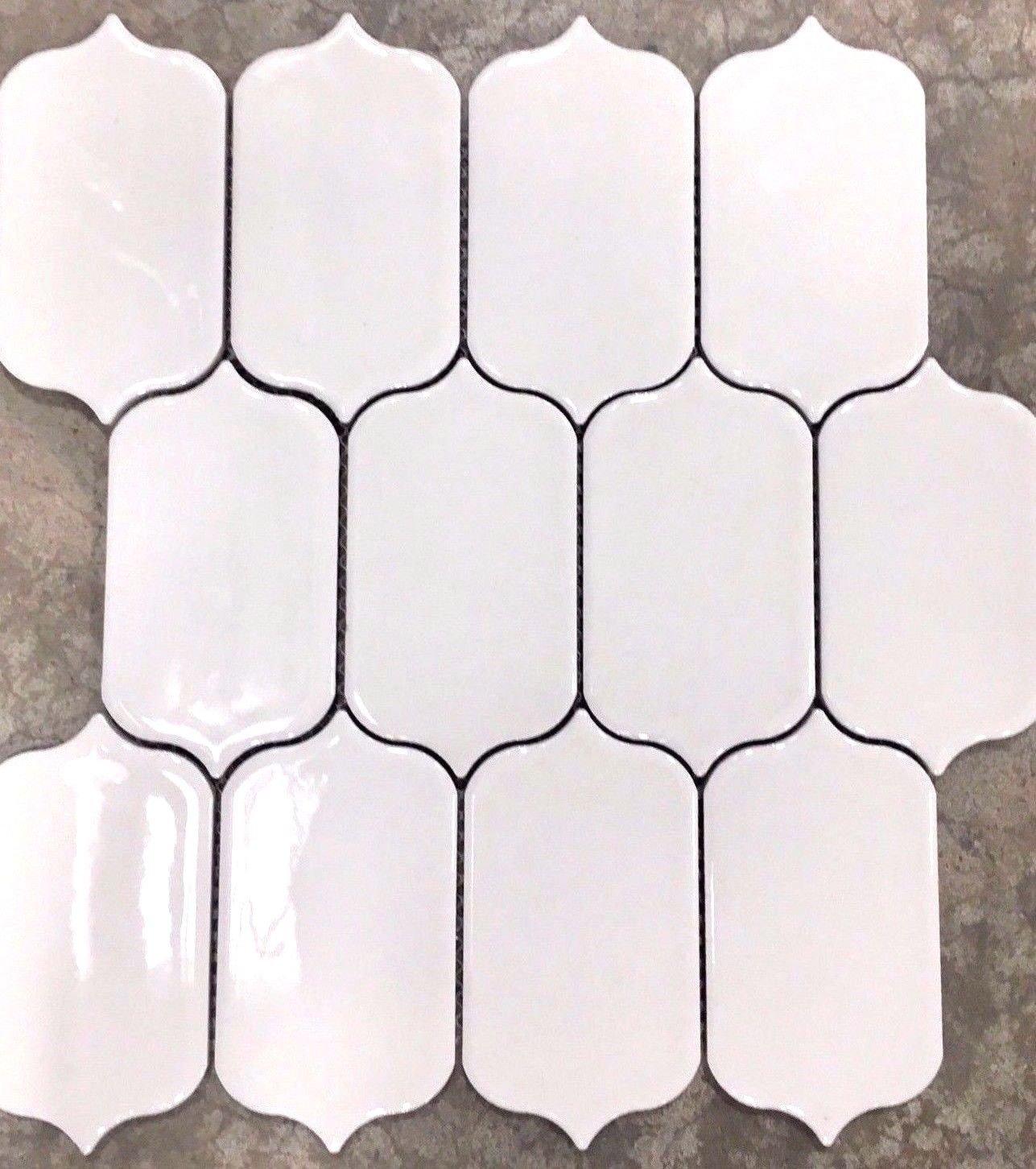 Paddle Shape White Tile Mosaic Kitchen Backsplash Bath