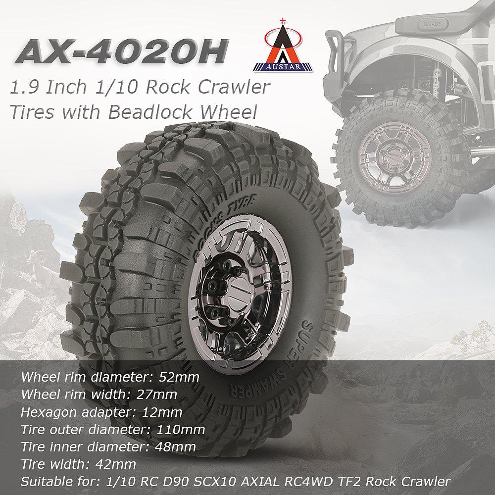 "4stk 1.9/"" Alu Felgen Beadlock Wheel Rims für 1//10 Axial SCX10 RC Crawler Car DE"
