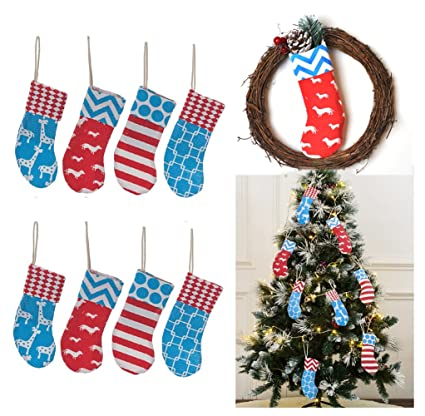 8 burlap christmas stockings decoration 8 pcs set print fireplace tree decor small each - Fireplace Christmas Decorations Amazon
