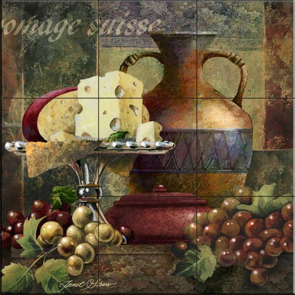 Ceramic Tile Mural - Cheese and Grapes II- by Janet Stever - Kitchen backsplash/Bathroom Shower