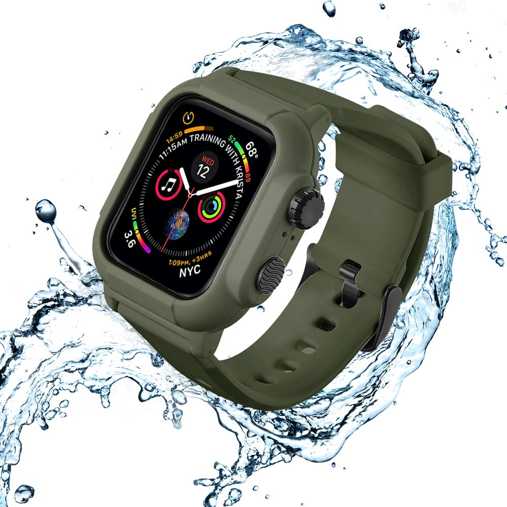 VANCHAN Compatible with Waterproof Apple Watch Case Band 44mm Series 4, IP68 Waterproof Protective Cover Soft Band for Iwatch Series 4 44mm(ArmyGreen) by VANCHAN