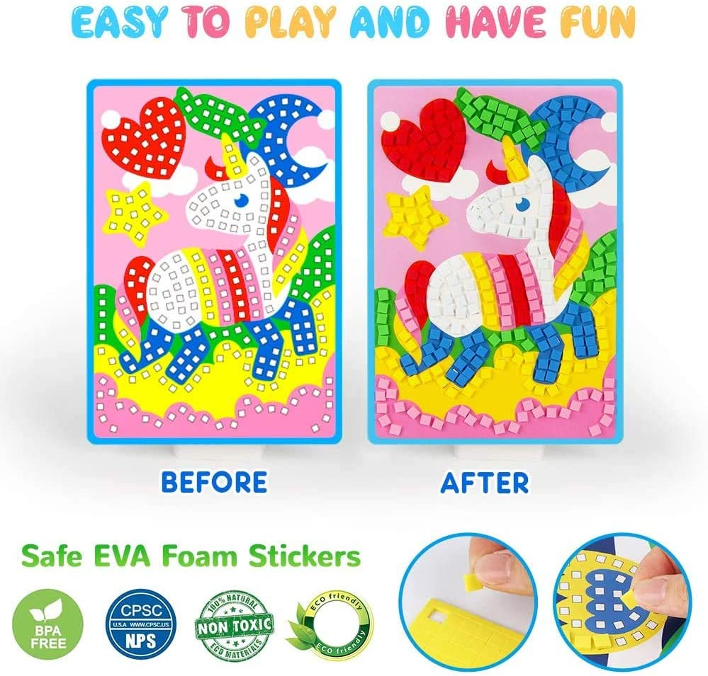 Upriver Mosaic Stickers Art Kits for Kids DIY Hand Made 3D Mosaic Stickers Art for Kids with 12 PCS Animals etc Patterns. Flowers EVA Stickers Mosaic Art Craft with Crystal Diamond