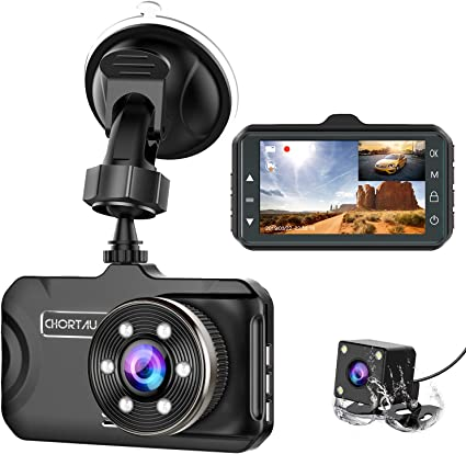 Dash Cam Front and Rear CHORTAU Dual Dash Cam 3 inch Dashboard Camera Full HD 170/° Wide Angle Backup Camera with Night Vision WDR G-Sensor Parking Monitor Loop Recording Motion Detection