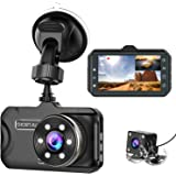 Dash Cam Front and Rear CHORTAU Dual Dash Cam 3 inch Dashboard Camera Full HD 170° Wide Angle Backup Camera with Night…
