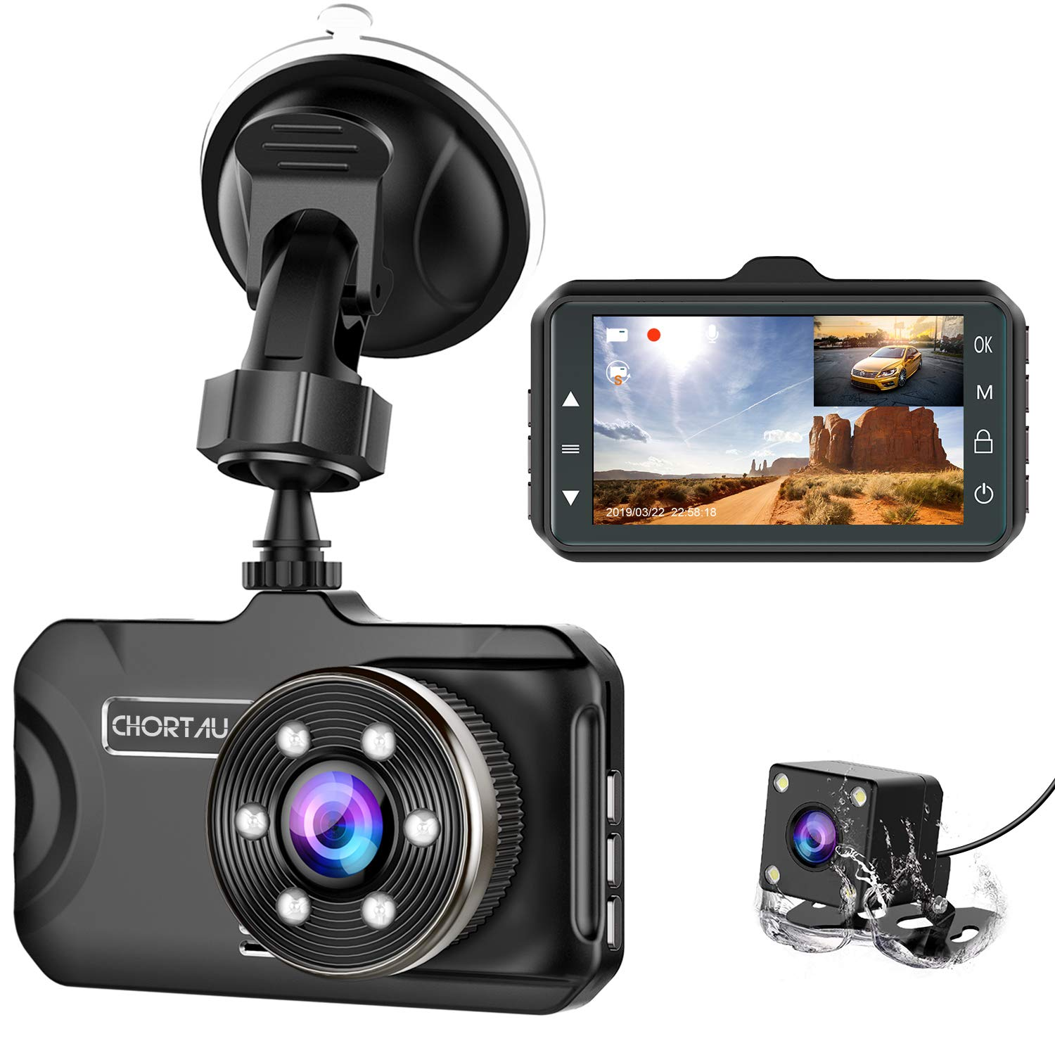Dash Cam Front and Rear CHORTAU Dual Dash Cam 3 inch Dashboard Camera Full HD 170° Wide Angle Backup Camera with Night Vision WDR G-Sensor Parking Monitor Loop Recording Motion Detection by CHORTAU