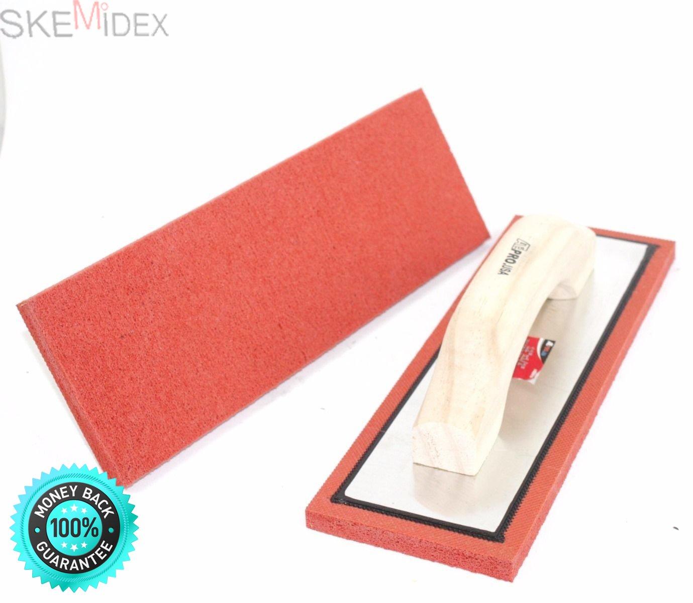 SKEMiDEX---Lot Two 12'' x 4'' Rubber Sponge Grout Float Tile Hand Trowel Tools w/Wood Handle. Non-stick gum rubber ensures smooth application Thick aluminum backing plate resists bending
