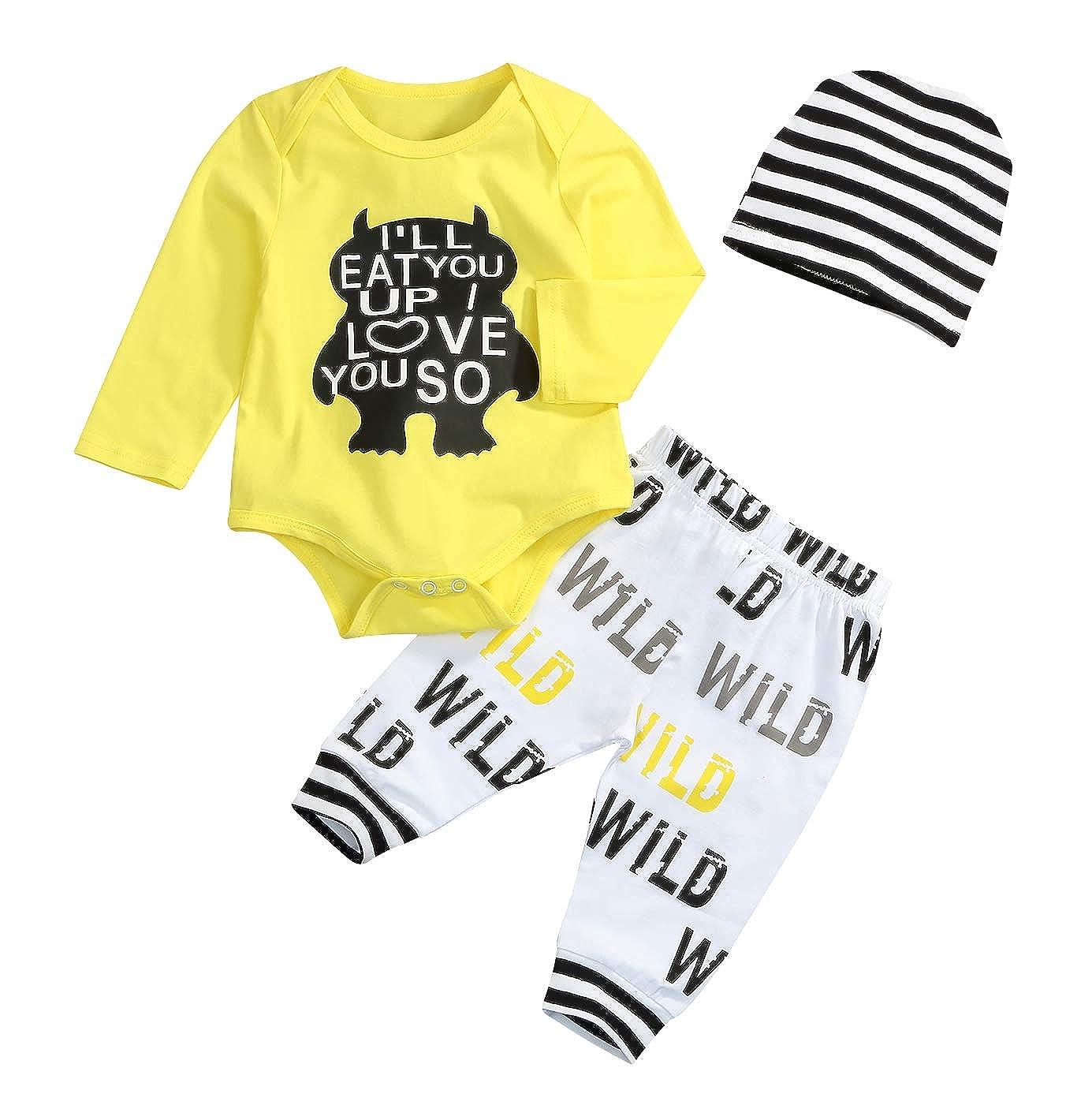 2cb3c7b93f7c3 Toddler Baby Boy Monster Cartoon Letter Sleeve Summer Short Sleeve Jumpsuit  Tops Pants Clothes Set