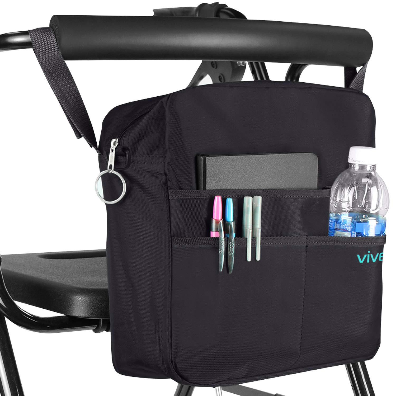 Vive Rollator Bag - Universal Travel Tote for Carrying Accessories on Wheelchair, Rolling Walkers & Transport Chairs - Lightweight Laptop Basket for Handicap, Disabled Medical Mobility Aid, Black by Vive