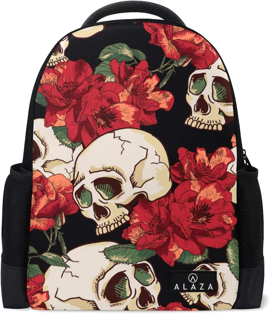 My Daily Floral Skulls Backpack 14 Inch Laptop Daypack Bookbag for Travel College School
