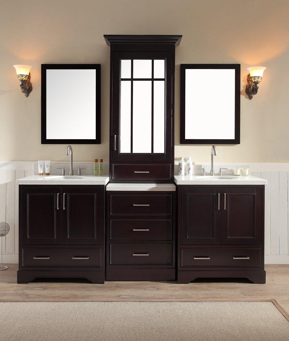 Double bathroom sink cabinets - Ariel Bathroom Vanity Stafford 85 Inch Double Sink Vanity Set In Espresso Amazon Com