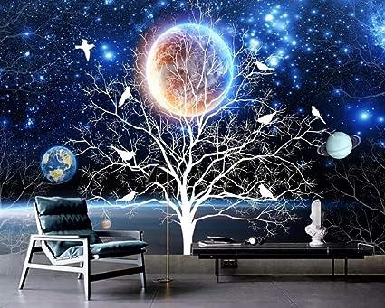 Wallpaper 3d Custom Fantasy Aesthetic Star Flower And Bird Wall