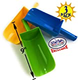 "Matty's Toy Stop 9"" Kids Short Handle Sand Scoop Plastic Shovels for Sand & Beach (Yellow, Blue & Green) Gift Set Bundle…"