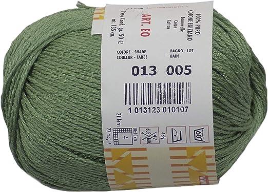 Cheope Verde 4 Capas 100% Algodón Egipcio 50g Bola de Wool Hilo: Amazon.es: Jardín