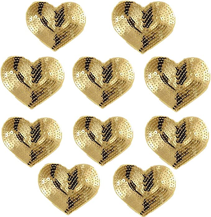 Happy Valentine/'s Day 4x4 Heart Red and Silver Iron-On Sequin Appliqu\u00e9 Patch