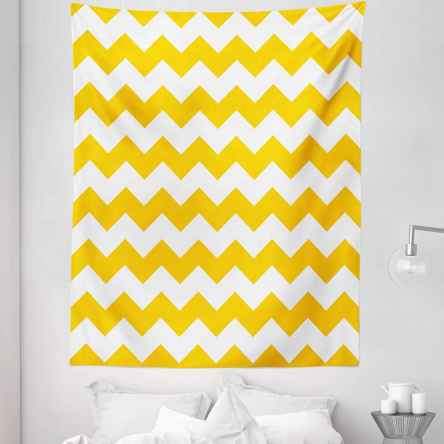"Lunarable Mustard Tapestry Twin Size, Zigzag Pattern Chevron Criss-Crossed Triangle Arrow Style Lines Geometric, Wall Hanging Bedspread Bed Cover Wall Decor, 68"" X 88"", Yellow White"