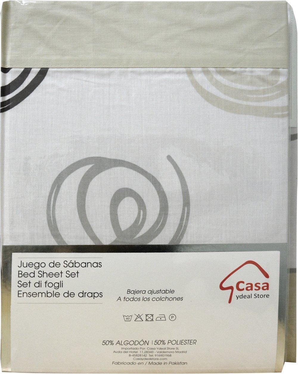 Casa Ydeal Store Juego de Sábanas Espirales 50% algodón 50% poliéster (135cm, Beige): Amazon.es: Hogar