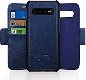 Newseego Compatible with Samsung Galaxy S10 Plus Leather Case,Wallet Case [Detachable 2 in 1 Wallet Folio] [Premium Vegan Leather] 2-Way Stand Flip Folding Slim Cover for Galaxy S10 Plus - Blue
