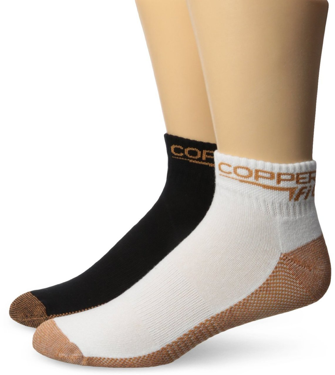Copper Fit Ankle Socks (2 Pair), Black/White, Small/Medium