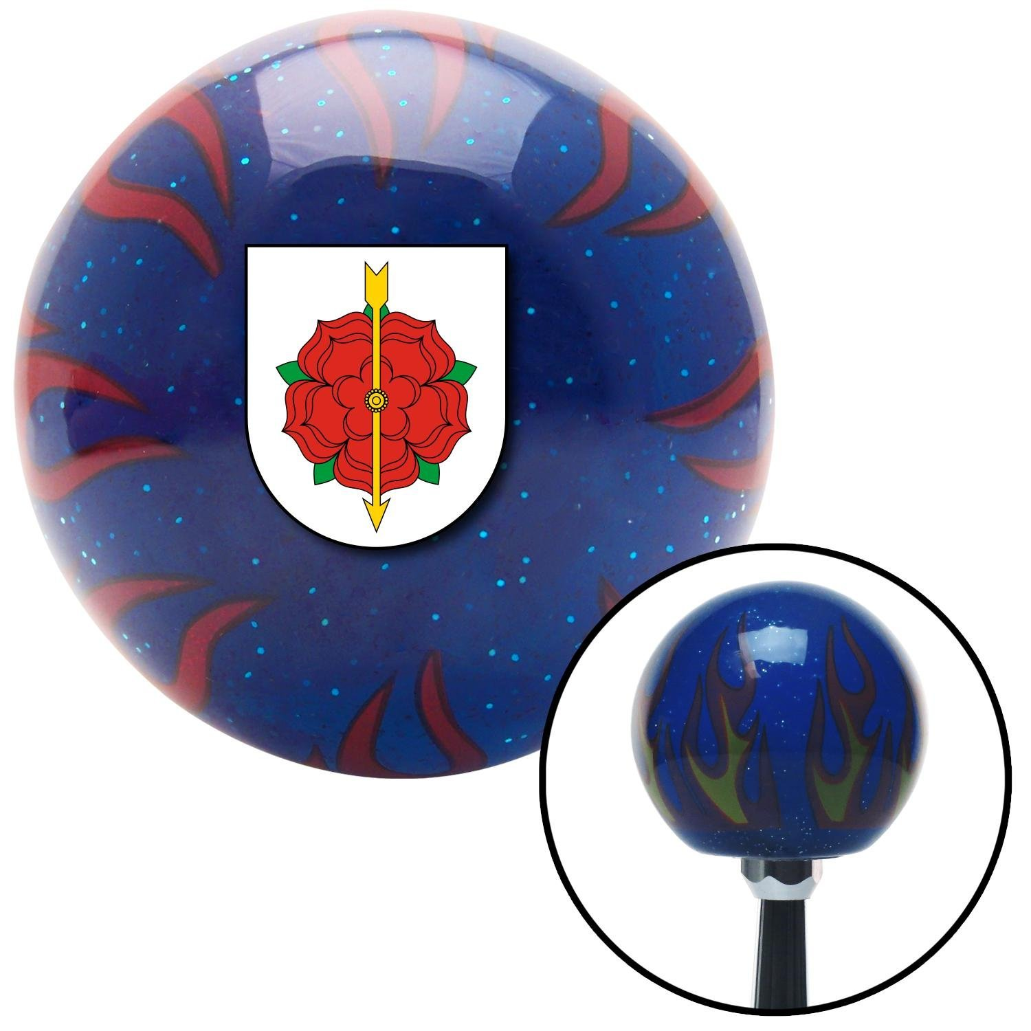 American Shifter 251768 Blue Flame Metal Flake Shift Knob with M16 x 1.5 Insert Hungarian Slovakian Coat of Arms