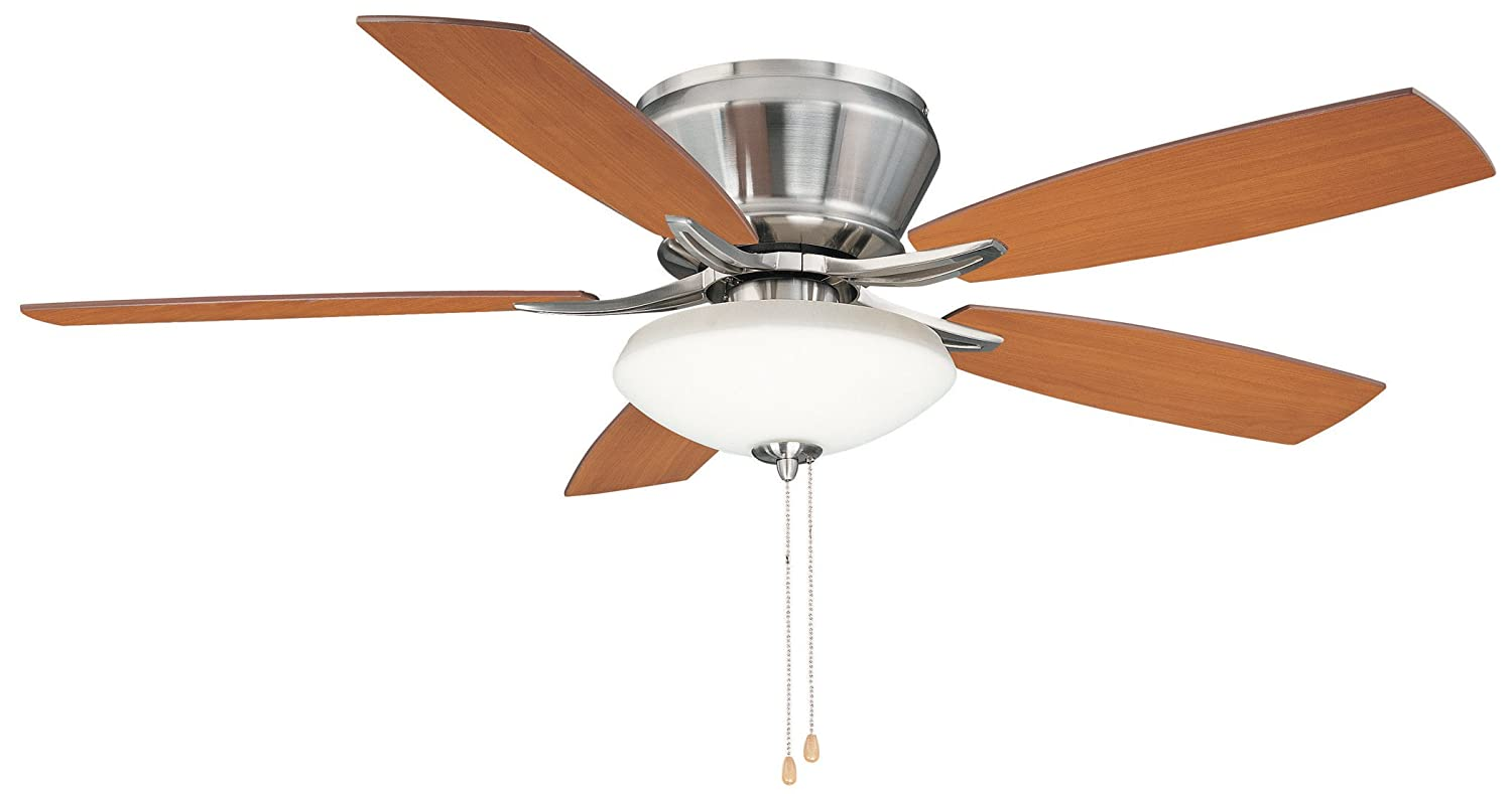 Litex CTM52BNK5C Brezza 52 InchCeiling Fan With Five Reversible Golden  Maple/Cherry Blades And Single Light Kit With Clear Frosted Glass   Ceiling  Fan With ...