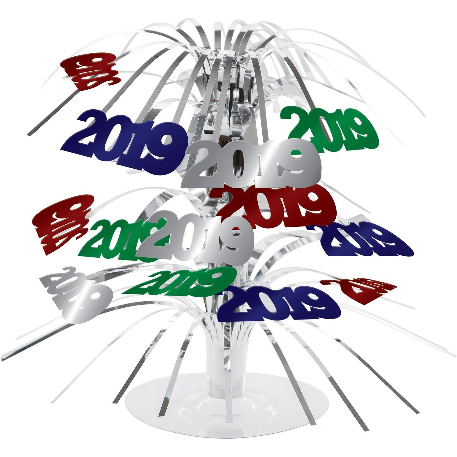 Pack of 12''2019'' Multicolored Metallic Cascade New Year's Centerpiece Table Decorations 18.75''