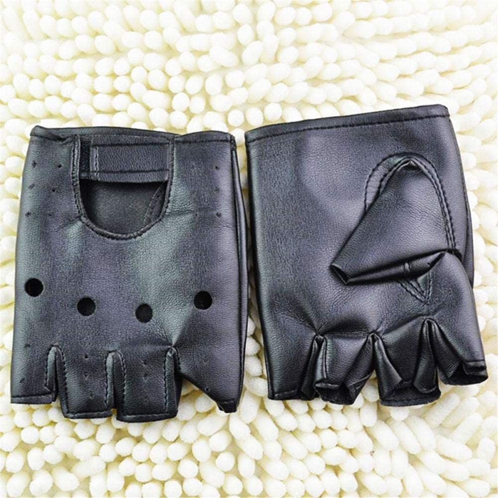 Driving Leather Gloves,Unlined With Vent Holes,Soft Comfortable Breathable Black Non-slip Womens Leather Fingerless Motorcycle Fashion Driving Gloves Fingerless Gloves Men//Woman