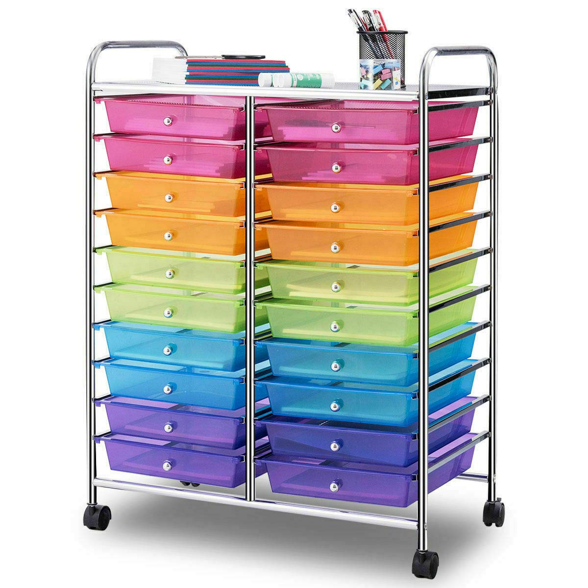 Mutli Color Rolling Scrapbook Paper Organizer School Office Studio Storage Cart w/ 20 Drawers with Ebook by FDInspiration (Image #6)