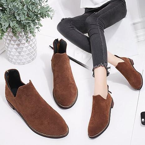 ❤ Botas Mujer Invierno,Hebilla de Las señoras de Las señoras de imitación de la Cremallera Sólidas Botas Calientes Botines Shoes Botines de Limpieza ...