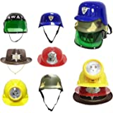 Liberty Imports [Set of 6] Dress Up Pretend Play Hats Helmets for Kids - Halloween Costume Role Play Variety Pack (Police, Fireman, Construction, SWAT, Cowboy, Army)