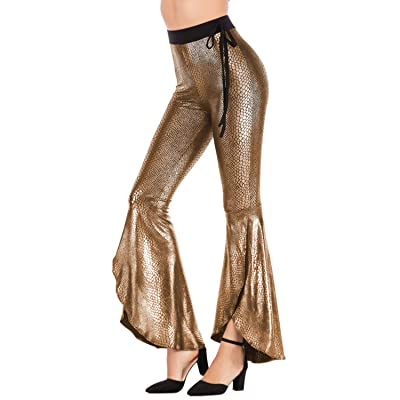 Aelidiya Night Club Metallic Flared Bell Bottom Pants High Waisted Pants Party Disco Fun Music Festival Trousers at Women's Clothing store