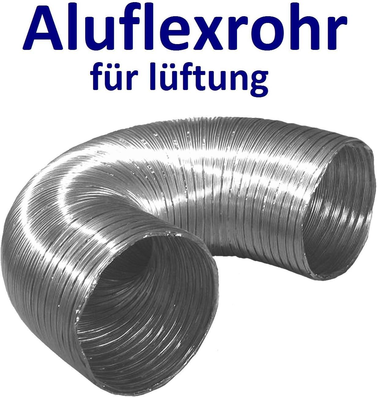 Conductor flexibles de aluminio para sistema de ventilación de aireTubo flexible de aluminio, manguera aluflex para ventilación, longitud de 30 a 270 cm. Resistente al calor hasta 300 °C. Diámetro: 80, 100,