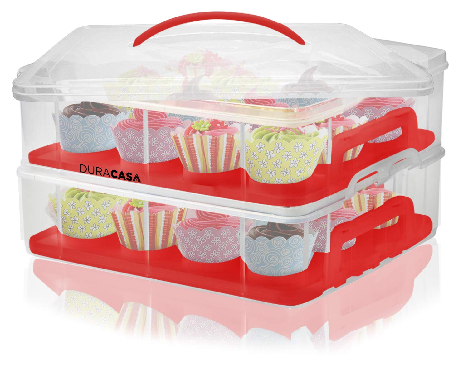 DuraCasa Cupcake Carrier | Cupcake Holder | Store up to 24 Cupcakes or 2 Large Cakes | Stacking Cupcake Storage Container | Cupcake, Cookie, or Cake Dessert Carrier (White) DCWH-BL-PK-RD24