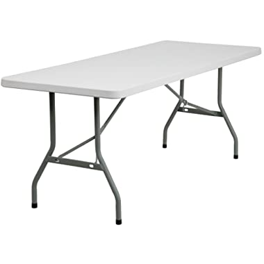 Flash Furniture 30''W x 72''L Granite White Plastic Folding Table