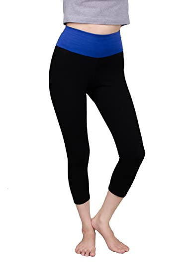 Lofbaz Capri Yoga Pants with High Waist Fold Over Deep Royal ...